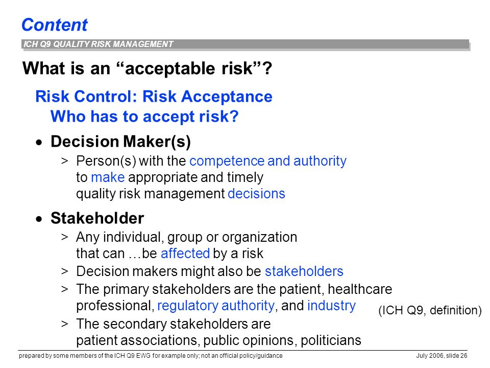 What is an acceptable risk