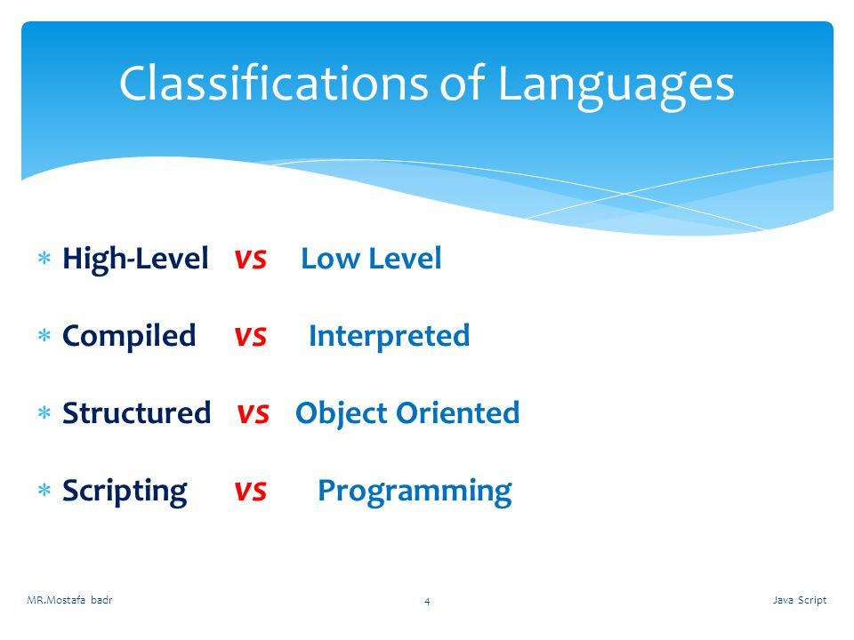 Classifications of Languages