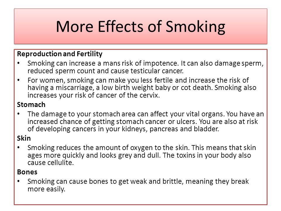 effects of smoking on reproduction 4) effect of smoking on reproductive system and fertility smoking affect reproductive system and various reproductive organs of both in men and women in men it is the main culprit for developing fertility problems and impotency (erectile dysfunction) and lower sperm count.
