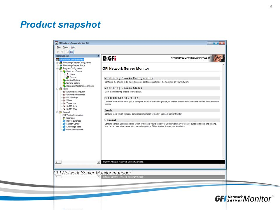 Product snapshot GFI Network Server Monitor manager