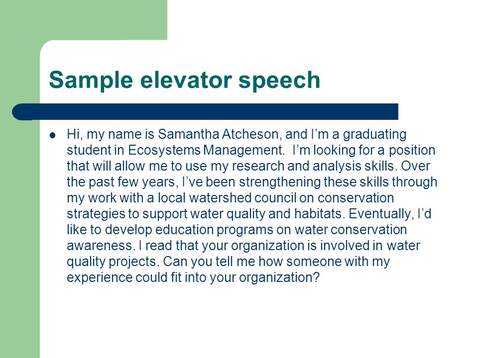 "The Elevator Speech, Or ""Pitch"" - Ppt Download"