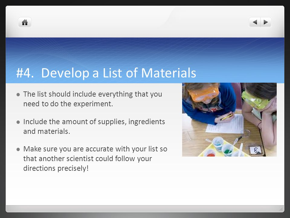 #4. Develop a List of Materials