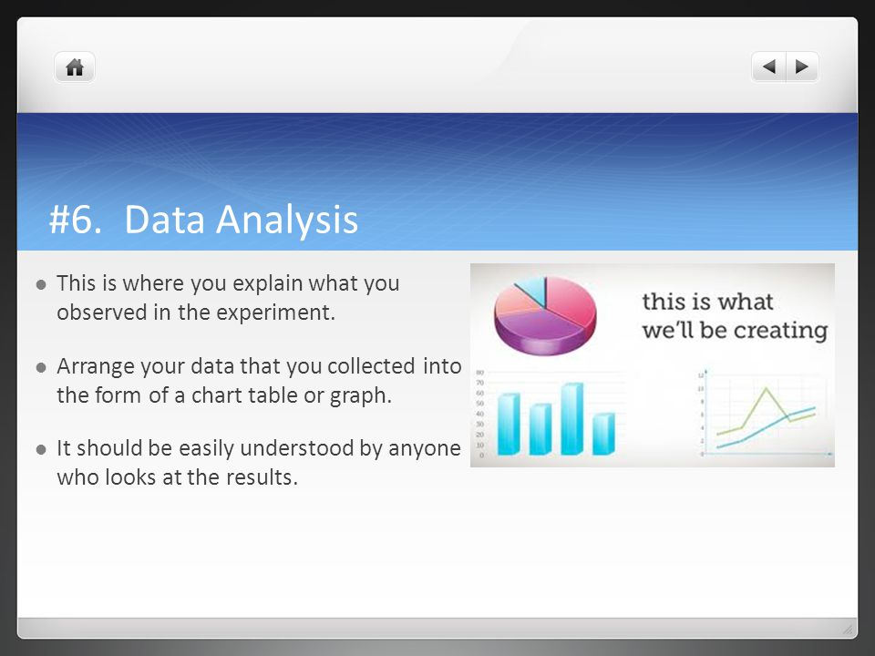 #6. Data Analysis This is where you explain what you observed in the experiment.