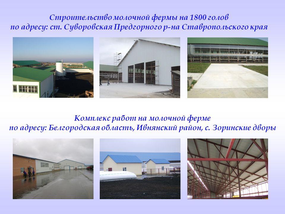 Строительство молочной фермы на 1800 голов по адресу: ст