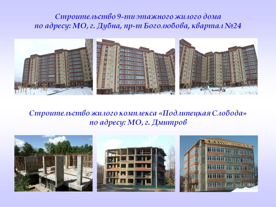 Строительство жилого комплекса «Подлипецкая Слобода»