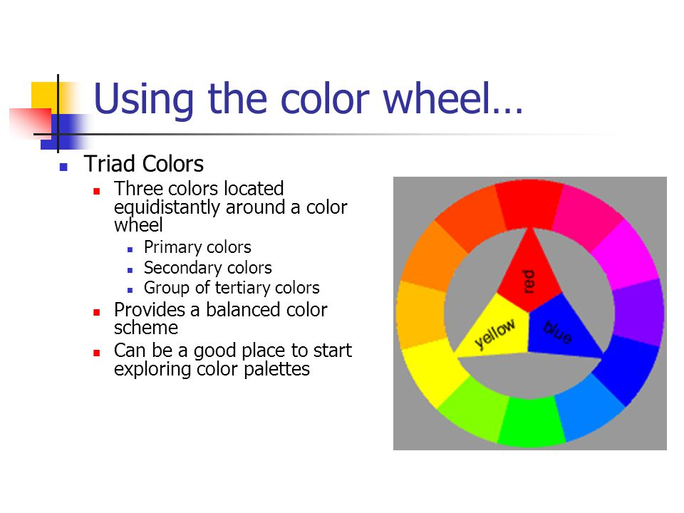 Using The Color Wheel Triad Colors