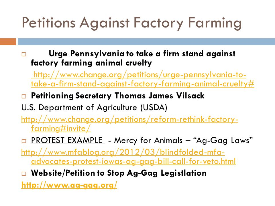 """against factory farming essay Specific purpose: by the end of my speech i will inform you of the harmful effects  of factory farming thesis: as stated by the """"food & water."""