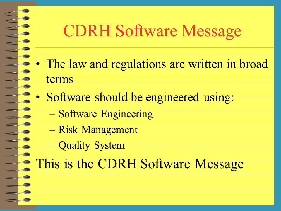 CDRH Software Message This is the CDRH Software Message