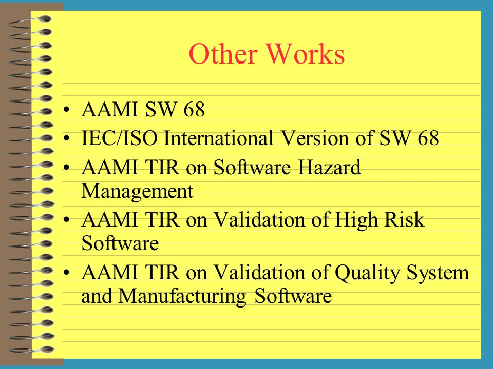 Other Works AAMI SW 68 IEC/ISO International Version of SW 68