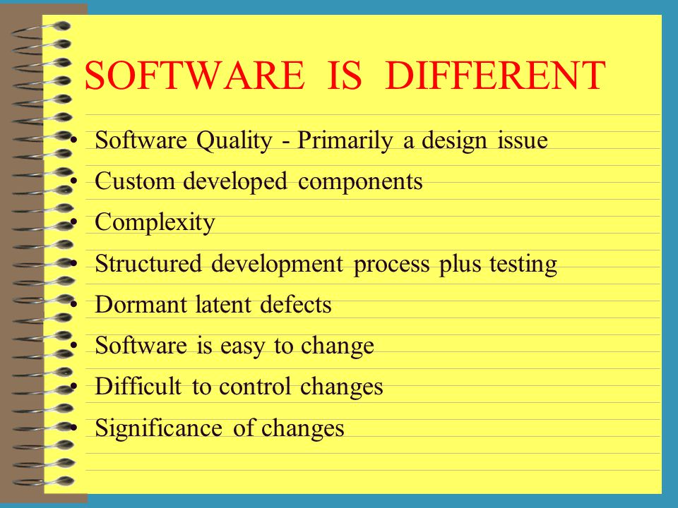 SOFTWARE IS DIFFERENT Software Quality - Primarily a design issue