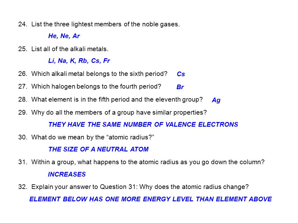 24. List the three lightest members of the noble gases.