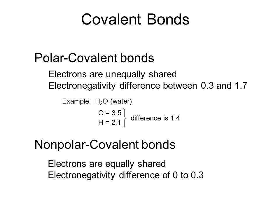 Covalent Bonds Polar-Covalent bonds Nonpolar-Covalent bonds
