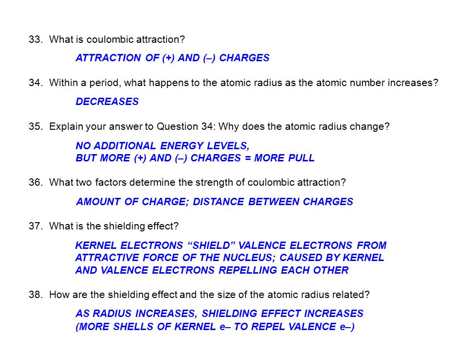 33. What is coulombic attraction