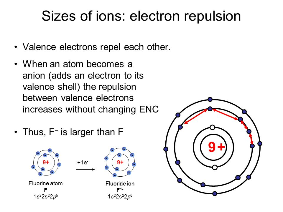Sizes of ions: electron repulsion