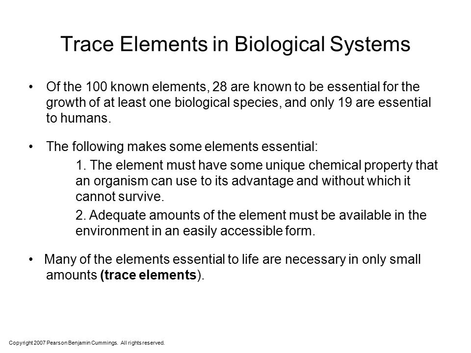 Trace Elements in Biological Systems