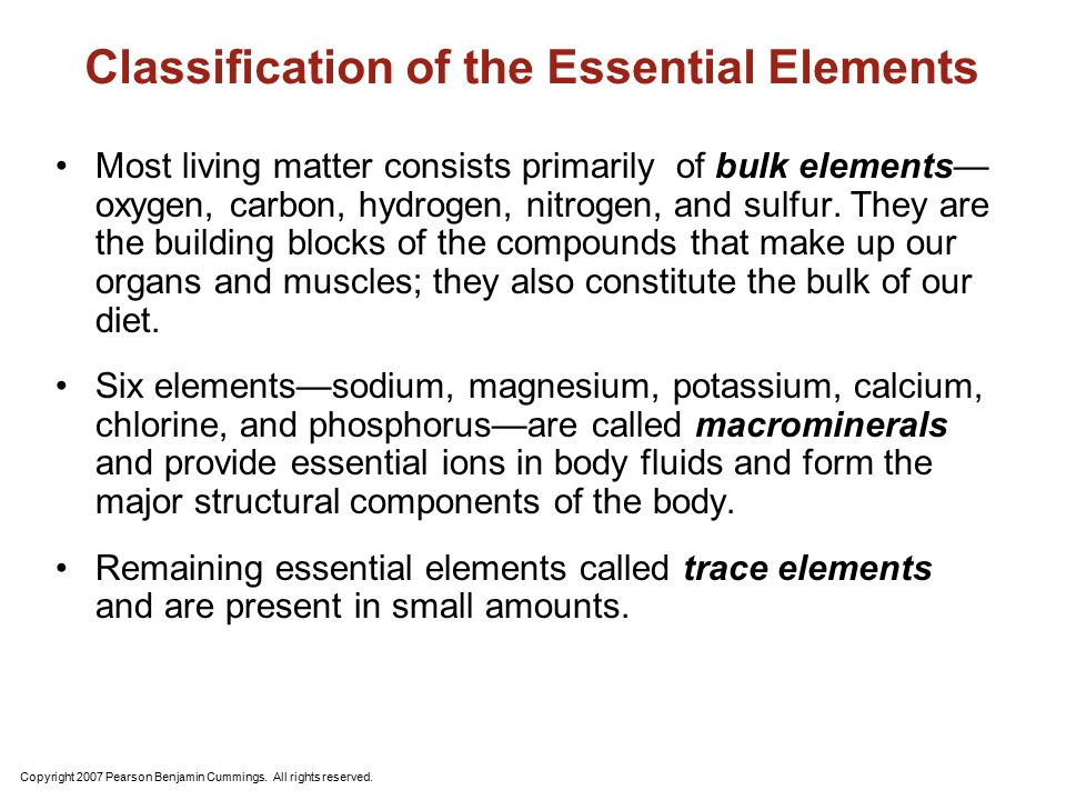 Classification of the Essential Elements