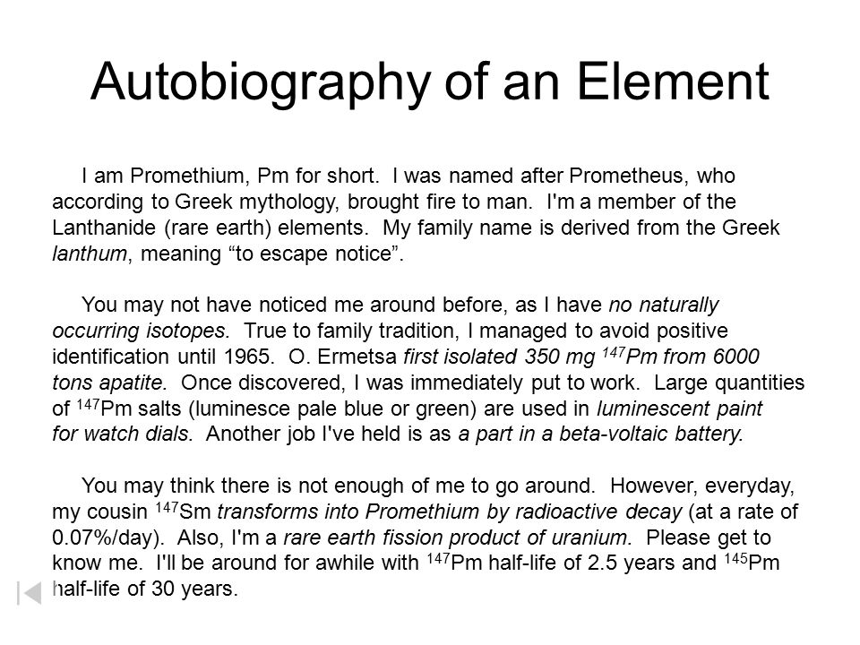 Autobiography of an Element