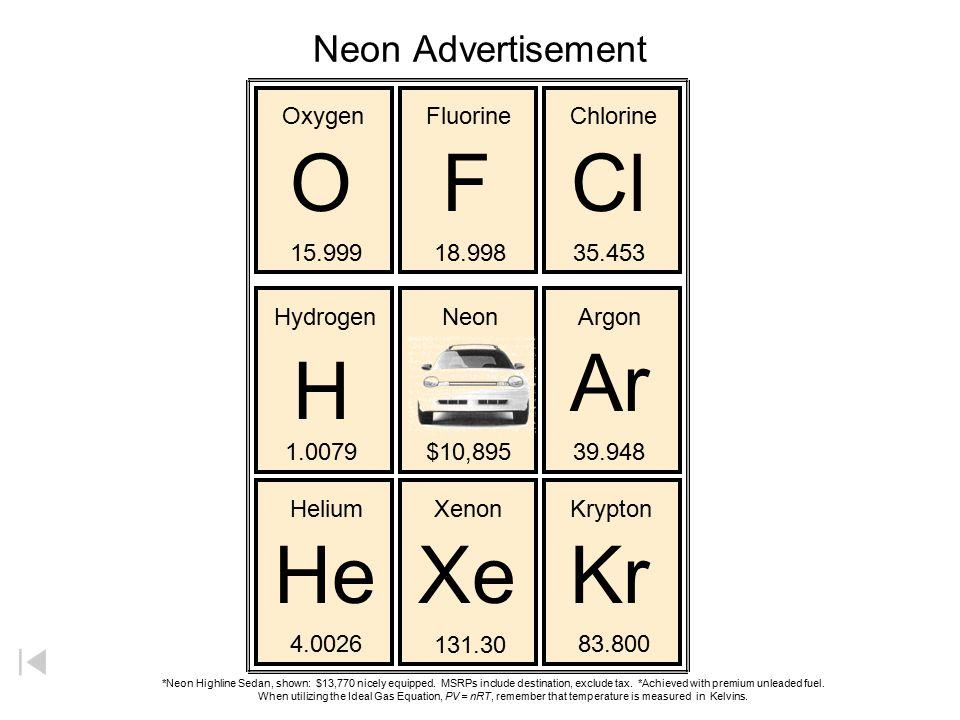 O F Cl Ar H He Xe Kr Neon Advertisement Oxygen Fluorine Chlorine