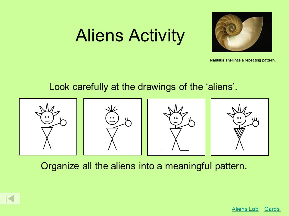 Aliens Activity Look carefully at the drawings of the 'aliens'.