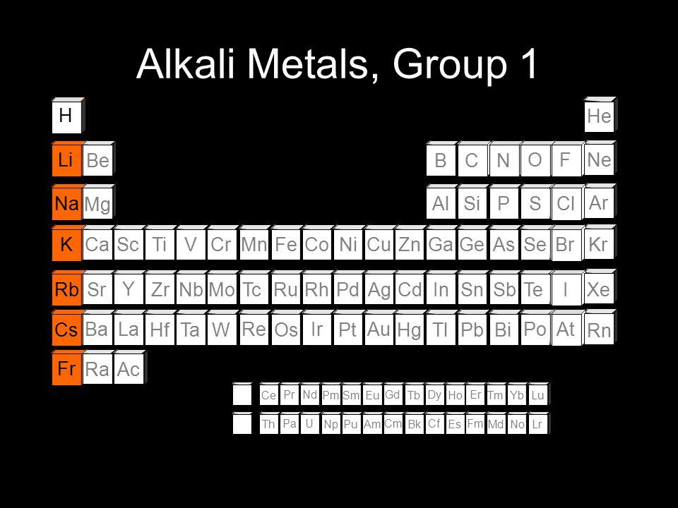 Alkali Metals, Group 1 H He Li Be B C N O F Ne Na Mg Al Si P S Cl Ar K