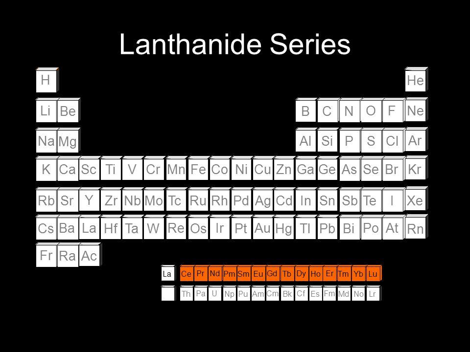 Lanthanide Series H He Li Be B C N O F Ne Na Mg Al Si P S Cl Ar K Ca