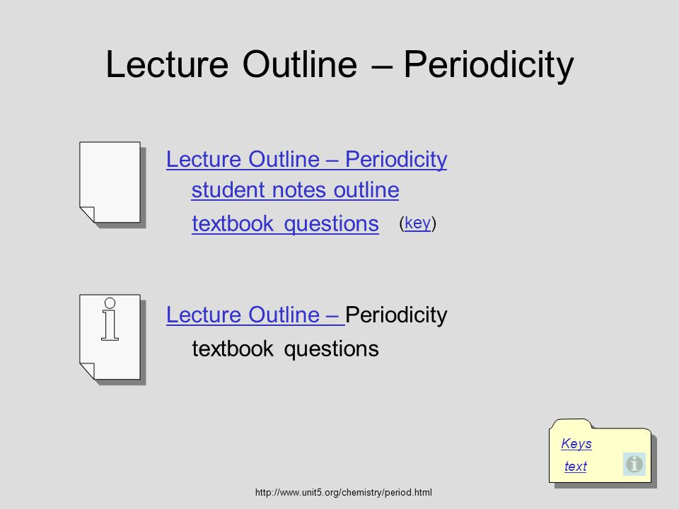 Lecture Outline – Periodicity