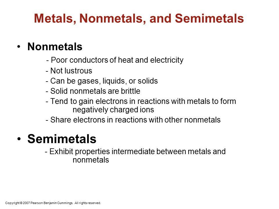 Metals, Nonmetals, and Semimetals
