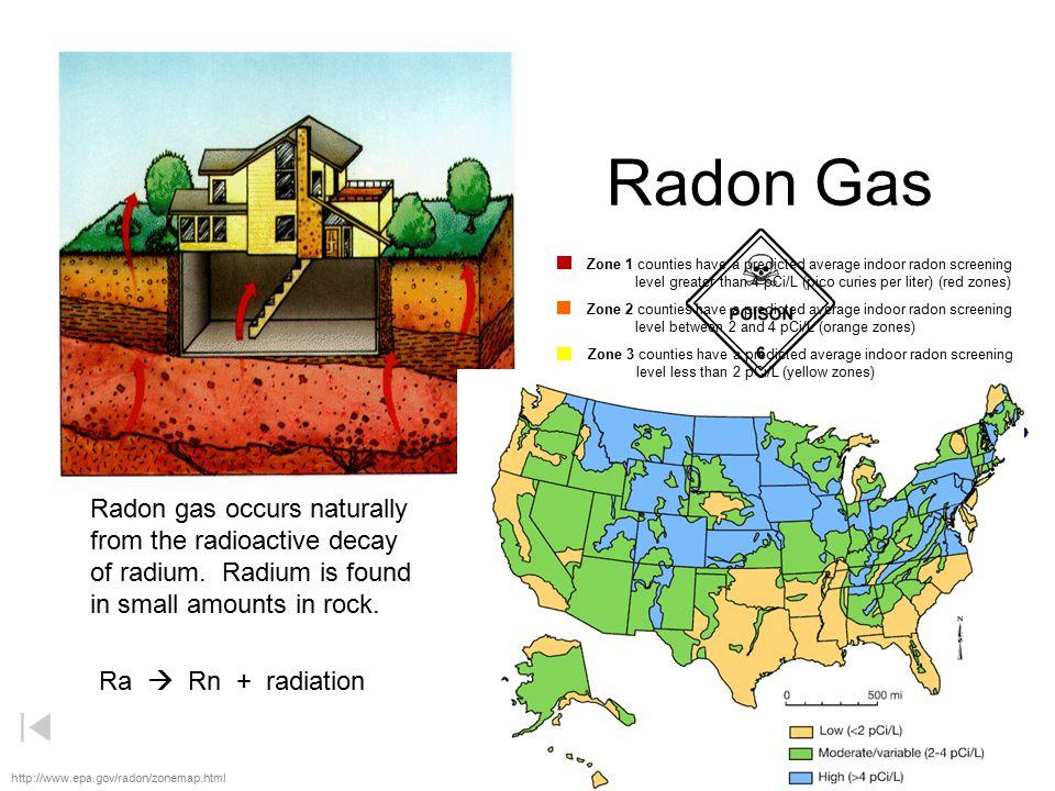 Radon Gas Radon gas occurs naturally from the radioactive decay
