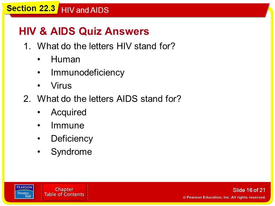 HIV & AIDS Quiz Answers What do the letters HIV stand for Human