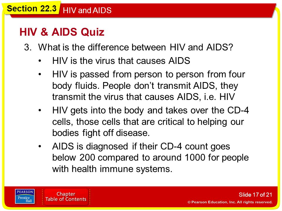 HIV & AIDS Quiz What is the difference between HIV and AIDS