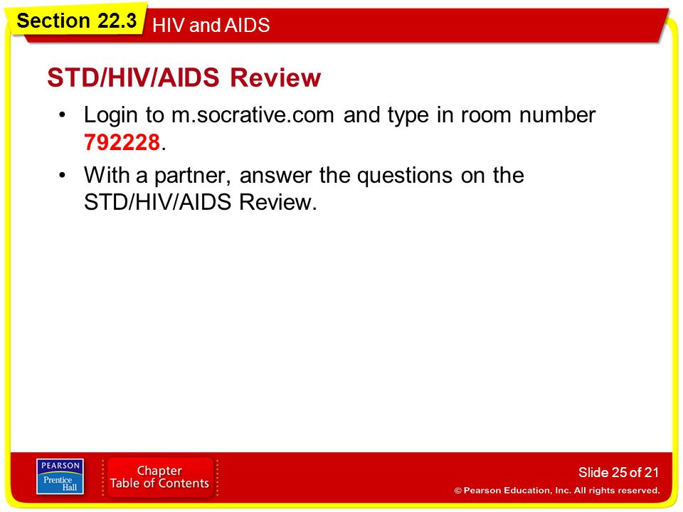STD/HIV/AIDS Review Login to m.socrative.com and type in room number