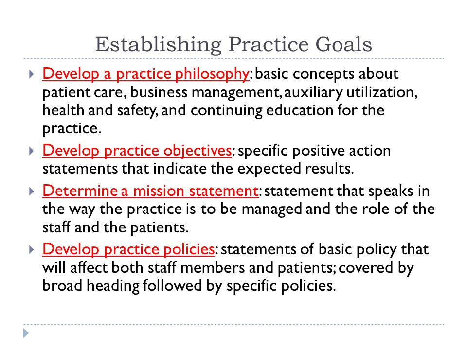 Establishing Practice Goals