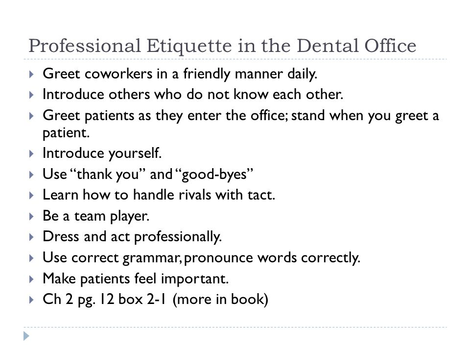Professional Etiquette in the Dental Office