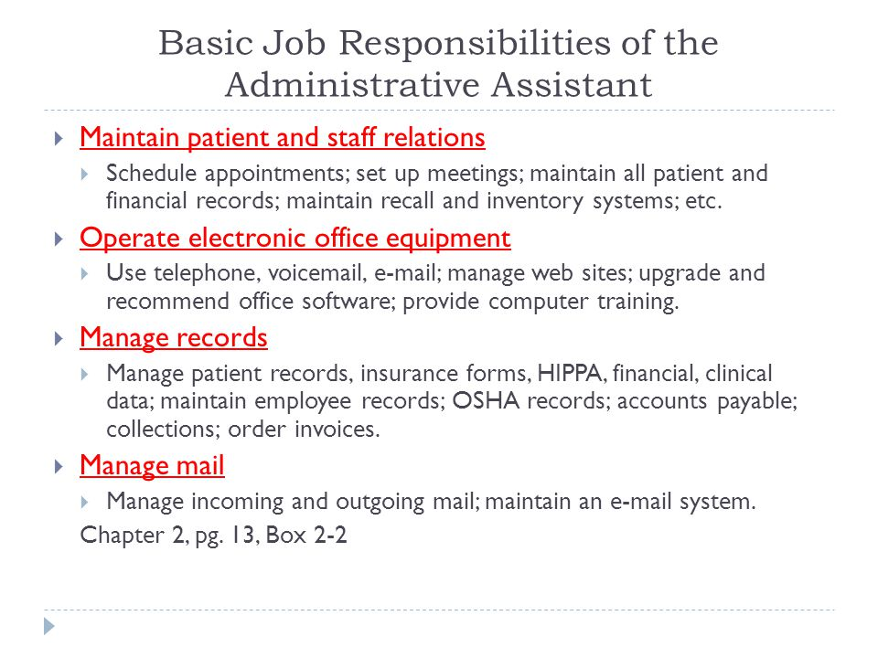 Basic Job Responsibilities of the Administrative Assistant