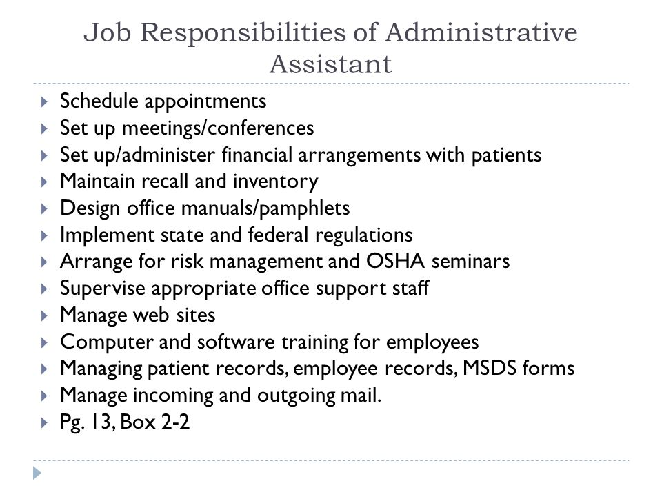 Job Responsibilities of Administrative Assistant