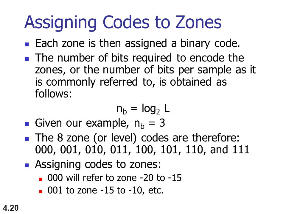 Assigning Codes to Zones