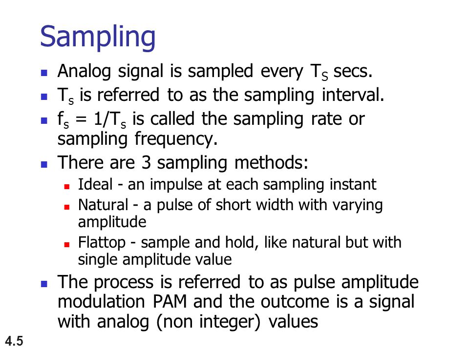 Sampling Analog signal is sampled every TS secs.