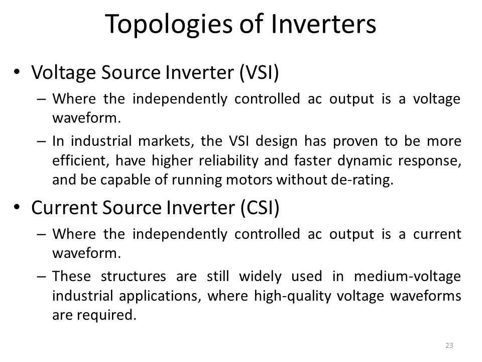 Topologies of Inverters