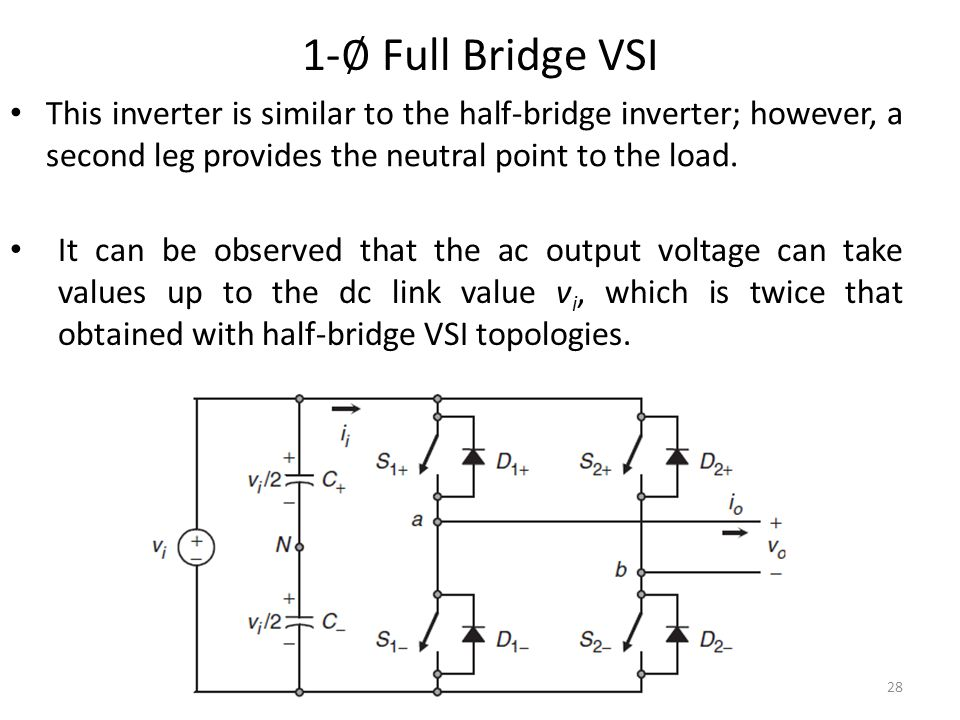 1-∅ Full Bridge VSI This inverter is similar to the half-bridge inverter; however, a second leg provides the neutral point to the load.