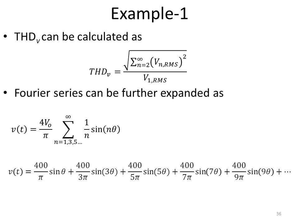 Example-1 THDv can be calculated as