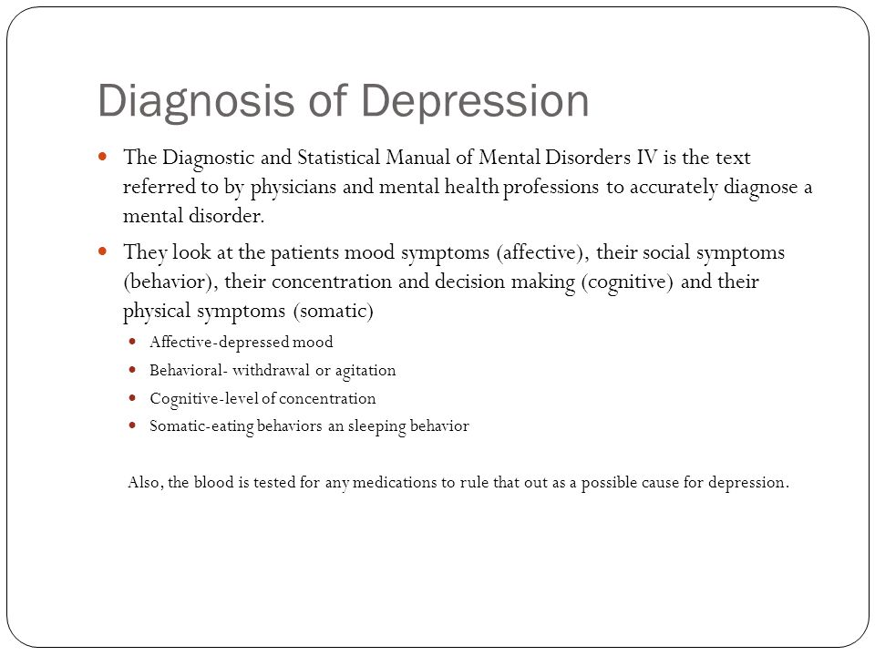 diagnostic and statistical manual of mental disorders depression