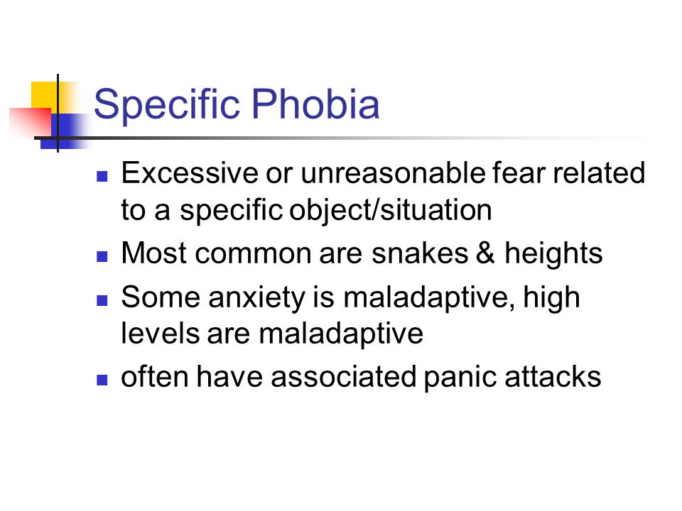 specific phobia Other: any other specific phobias (eg fear of choking, fear of vomiting) you can have more than one type of specific phobia other specific phobias, such as the fear of public speaking, are more related to social phobia social phobia is a condition where people are overly concerned about how they appear to others.