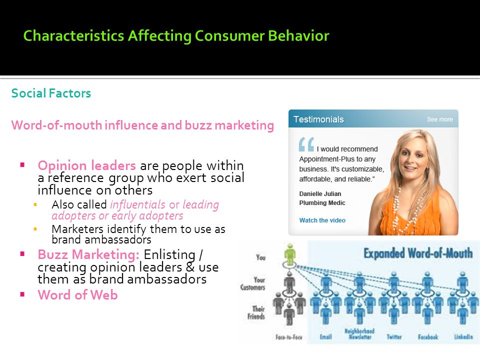 5 characteristics affecting consumer behavior Characteristics affecting consumer behavior 4 subconscious motivations 5-26 psychological factors motivation a motive is a need that is sufficiently pressing to direct the person to seek satisfaction motivation research refers to qualitative research designed to probe consumers' hidden.