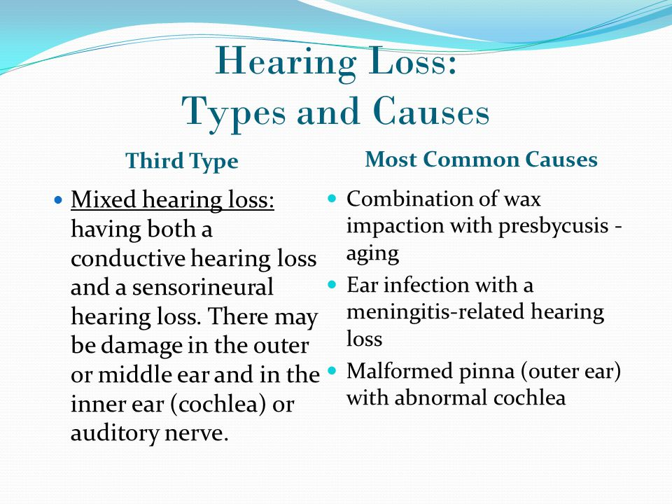 the causes and types of hearing loss conditions