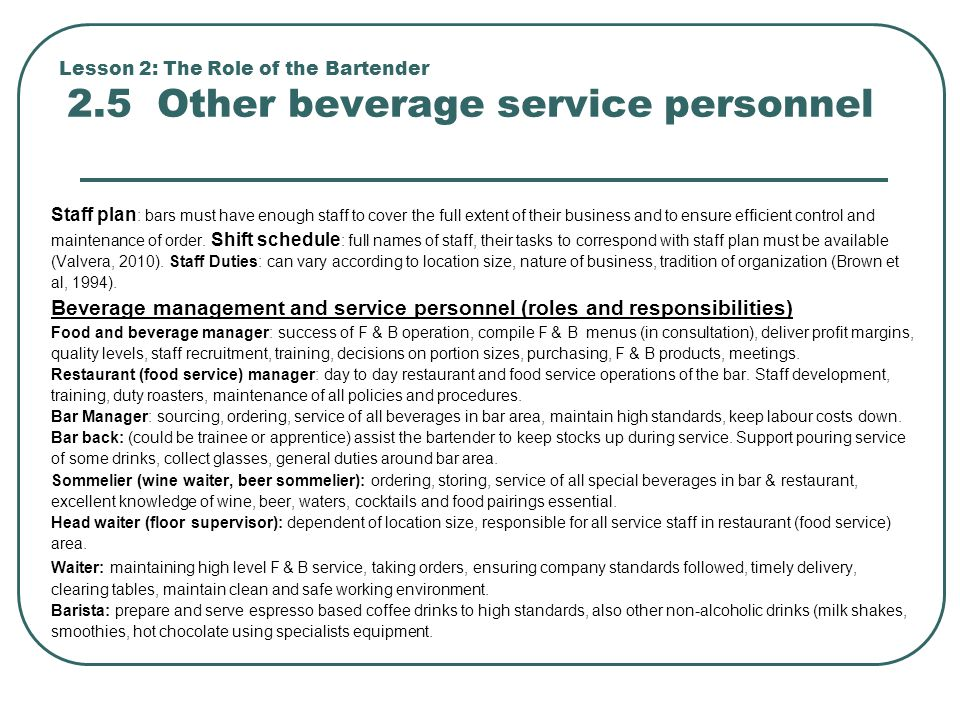 Beverage Management And Service Personnel (roles And Responsibilities)  Bartender Responsibilities