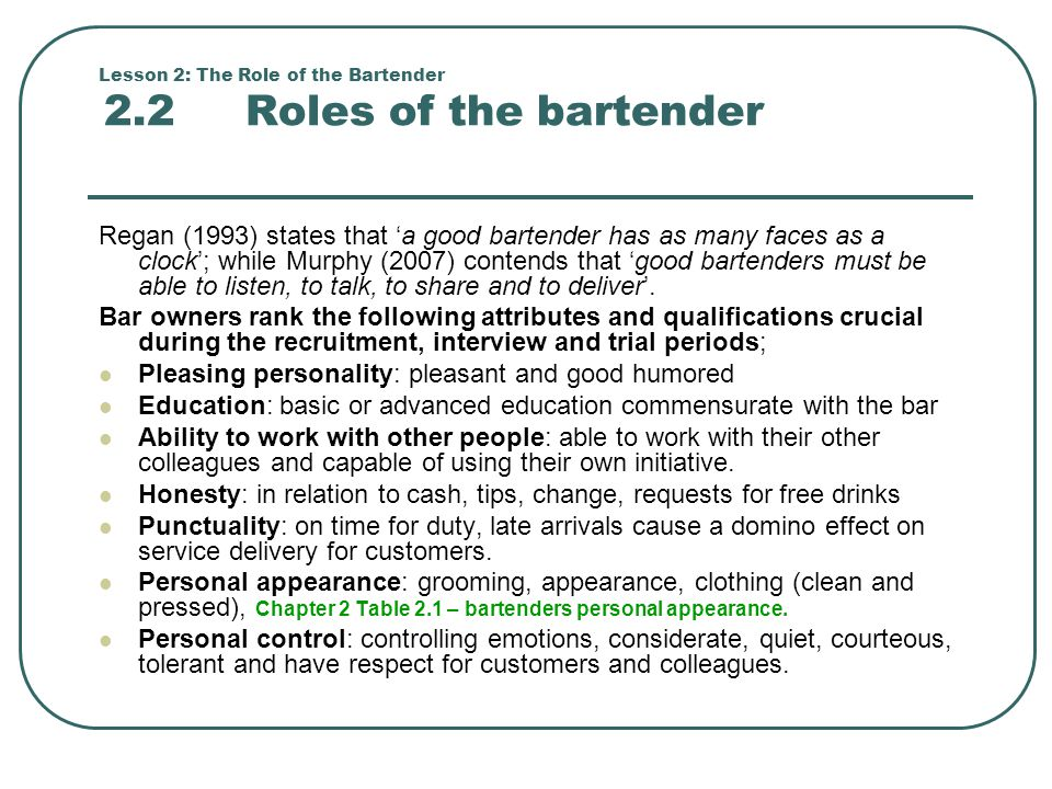 Nice Lesson 2: The Role Of The Bartender 2.2 Roles Of The Bartender And Bartender Duties