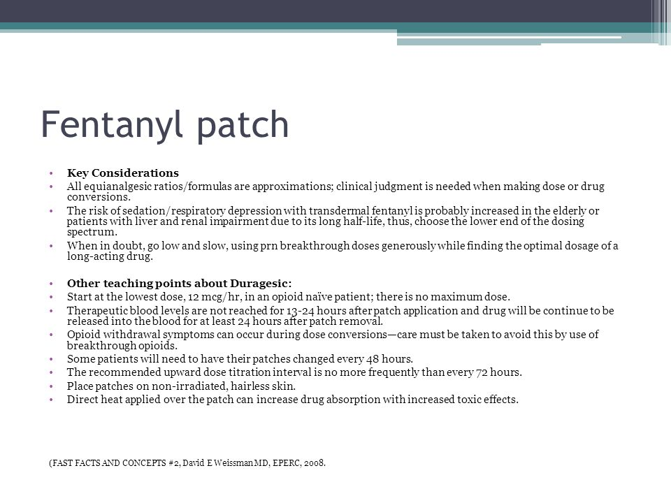 21 fentanyl patch key considerations