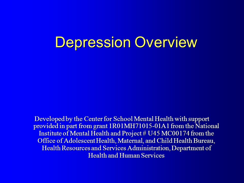 an overview of depression Depression - overview depression may be described as feeling sad, blue, unhappy, miserable, or down in the dumps most of us feel this way at one time or another for short periods clinical depression is a mood disorder in which feelings of sadness, loss, anger, or frustration interfere with everyday life for weeks or more.