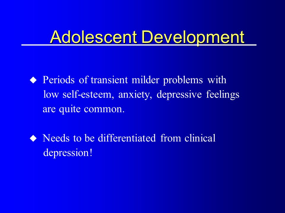 interviewing an adolescent developmental issues In a best-case scenario you work collaboratively with parents, mostly trying to teach them some really basic skills about adolescent development—not to flip out at the wrong things, and not at the right things.