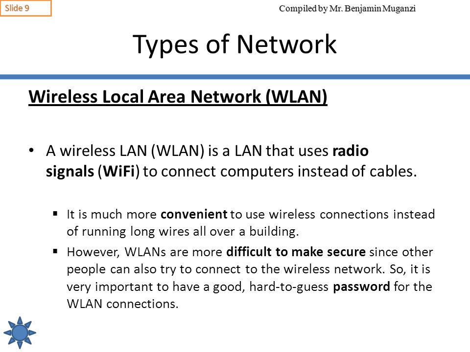 Types of Network Wireless Local Area Network (WLAN)